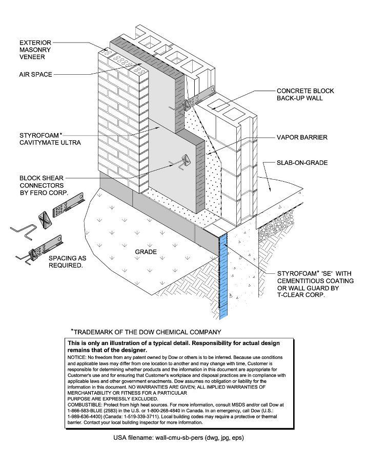 Styrofoam brand cavitymate ultra insulation for Foam block wall construction