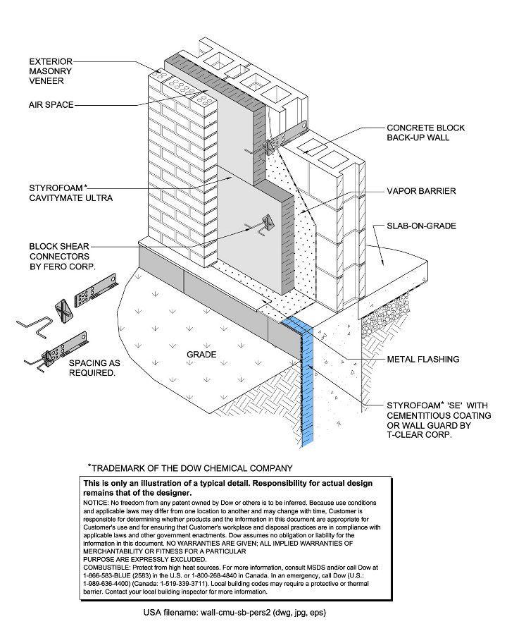 Cmu Wall Construction Details : Styrofoam™ brand cavitymate™ ultra insulation